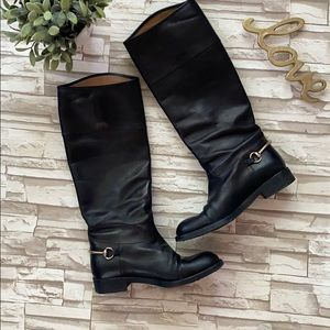 Gucci Tall Horsebit Leather Riding Boots